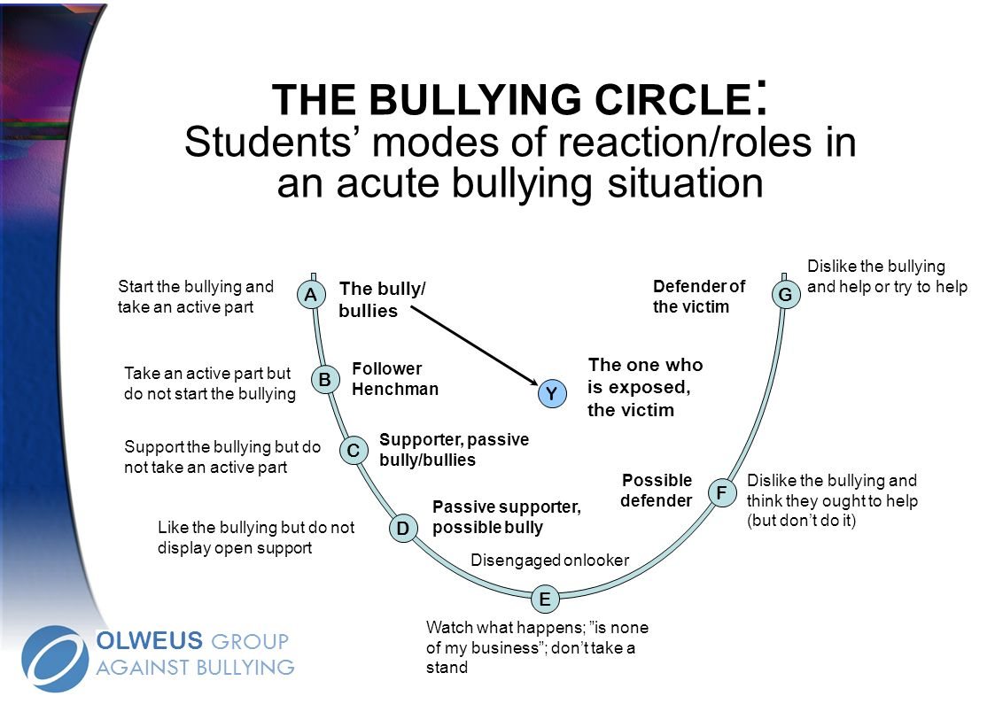 THE BULLYING CIRCLE : Students modes of reaction/roles in an acute bullying situation Take an active part but do not start the bullying Start the bull