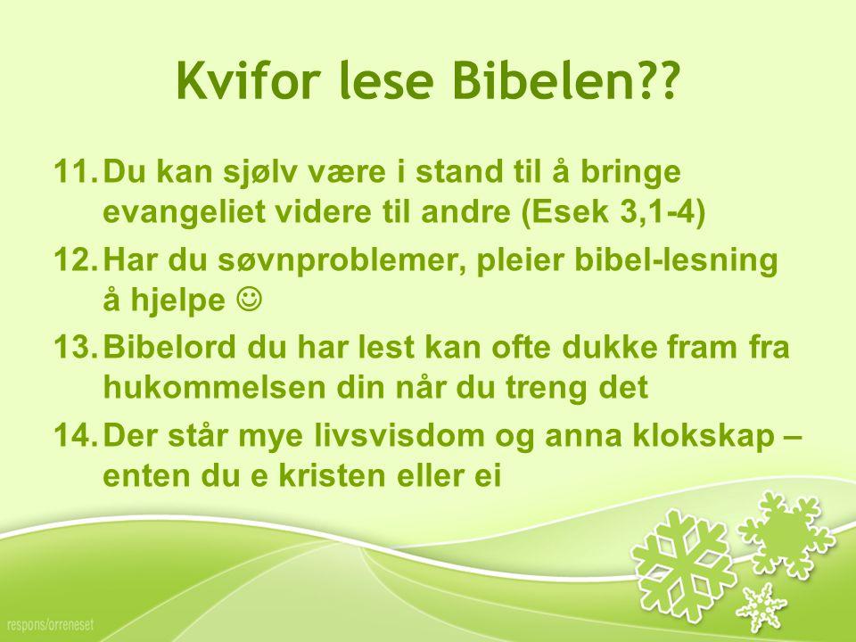 Kvifor lese Bibelen?.