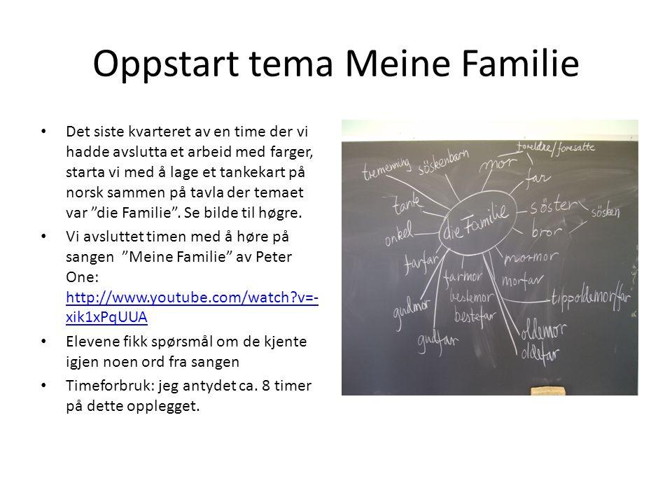 Oppstart tema Meine Familie Det siste kvarteret av en time der vi hadde avslutta et arbeid med farger, starta vi med å lage et tankekart på norsk samm