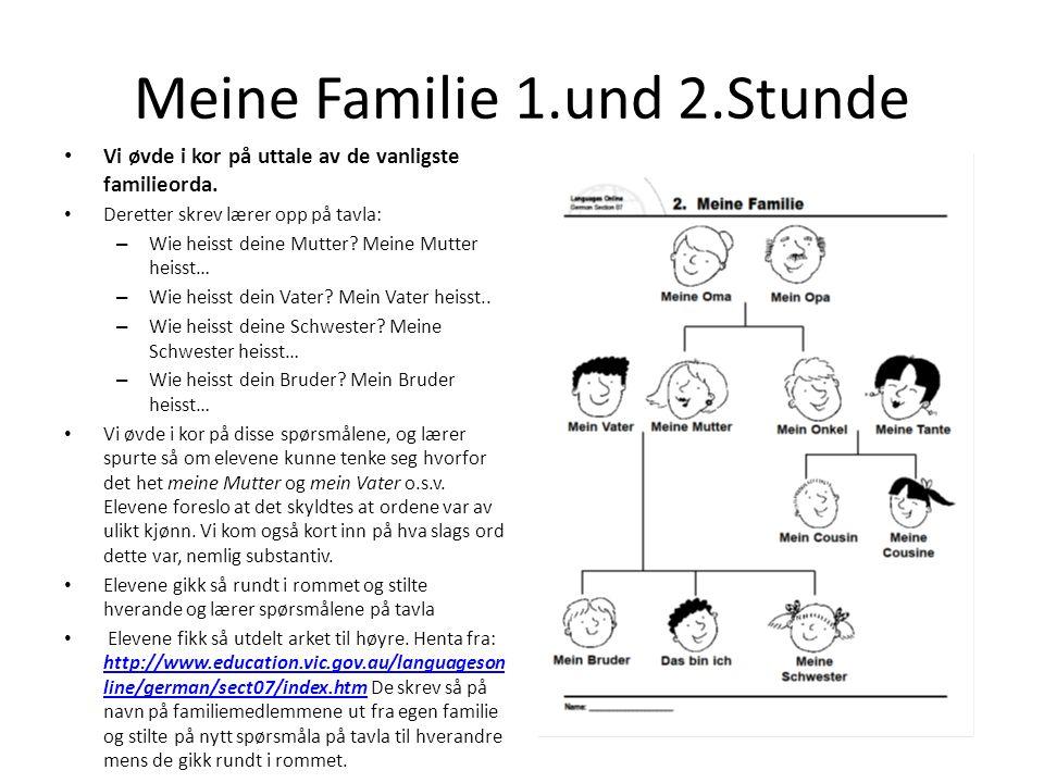 Meine Familie 1.und 2.Stunde Elevene fikk i lekse å fylle ut med tekst og tegninger/ bilder på et kopiark av Mein Stammbaum fra læreverket Wir starten, se under.