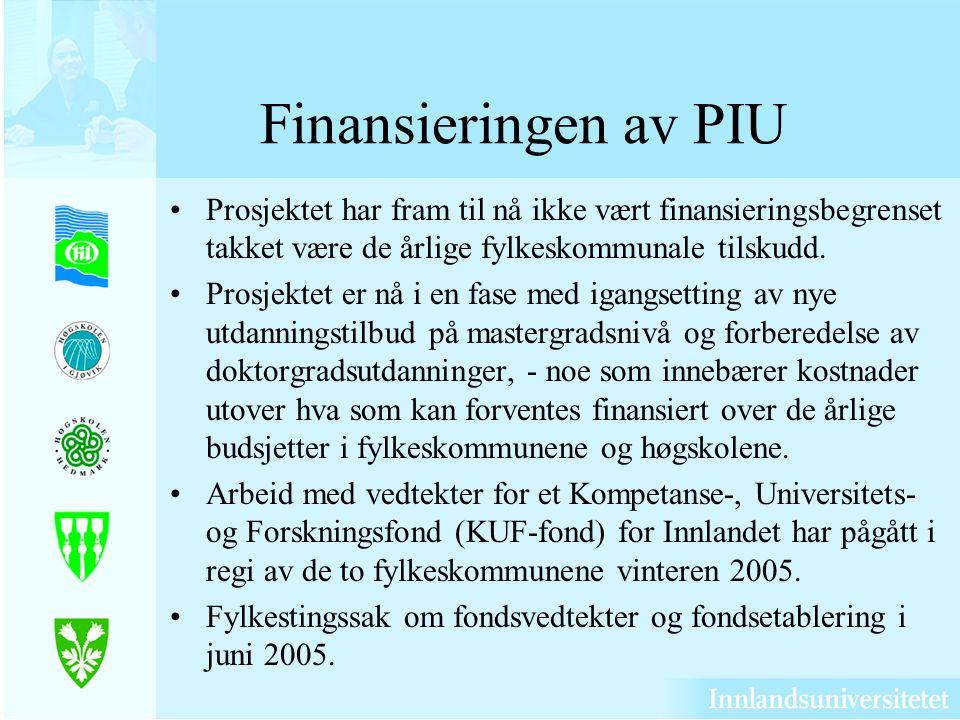 Finansieringen av PIU Prosjektet har fram til nå ikke vært finansieringsbegrenset takket være de årlige fylkeskommunale tilskudd.