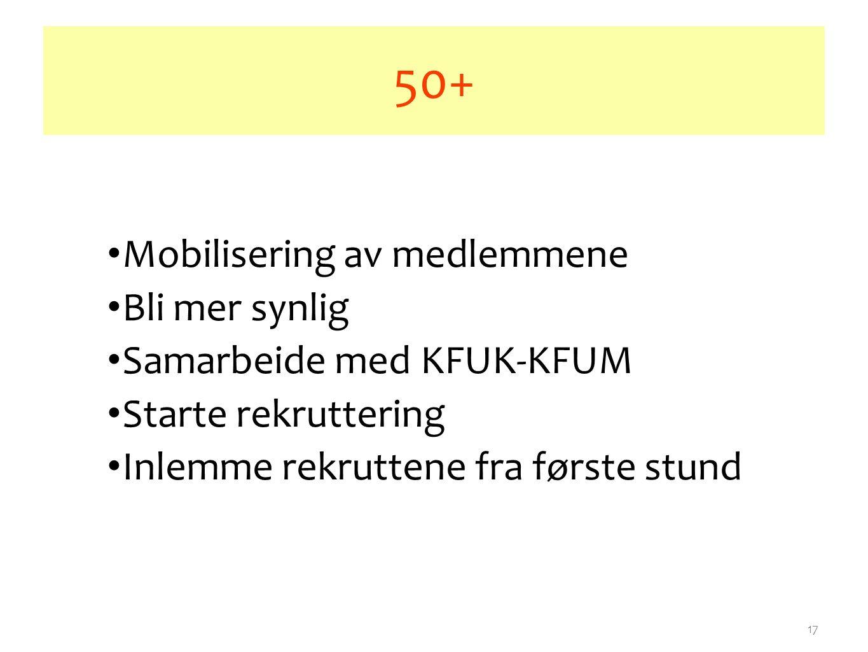 17 50+ Mobilisering av medlemmene Bli mer synlig Samarbeide med KFUK-KFUM Starte rekruttering Inlemme rekruttene fra første stund