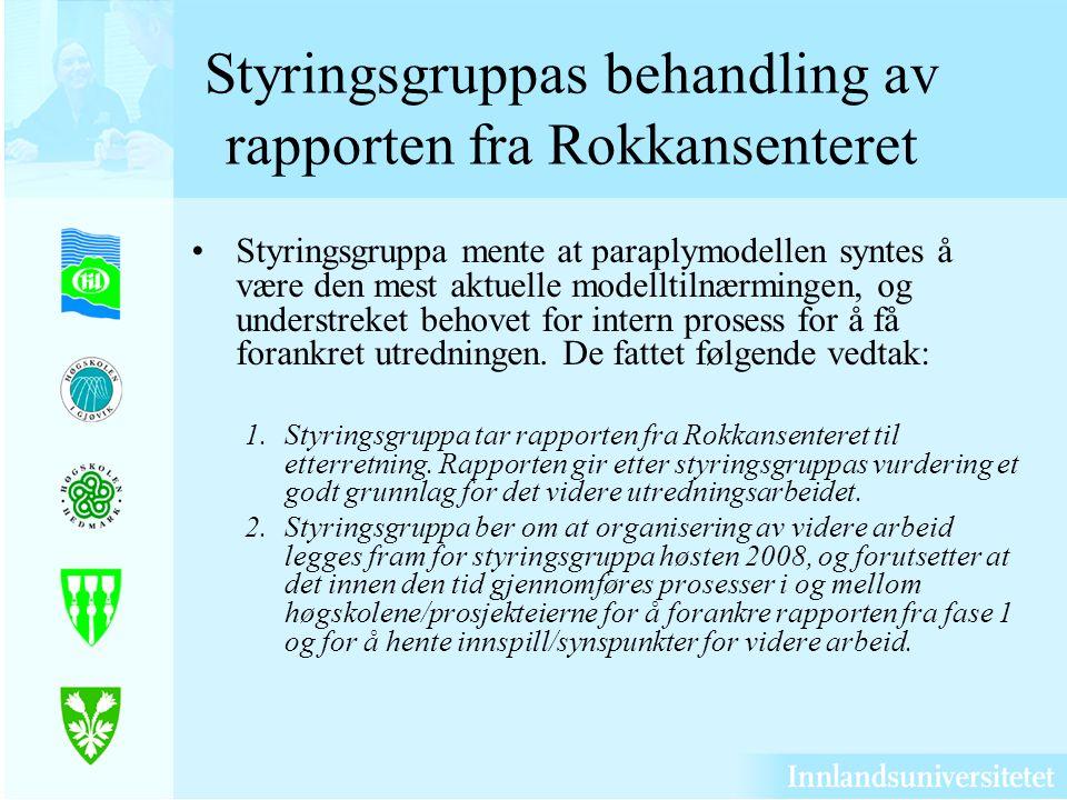 Styringsgruppas behandling av rapporten fra Rokkansenteret Styringsgruppa mente at paraplymodellen syntes å være den mest aktuelle modelltilnærmingen, og understreket behovet for intern prosess for å få forankret utredningen.