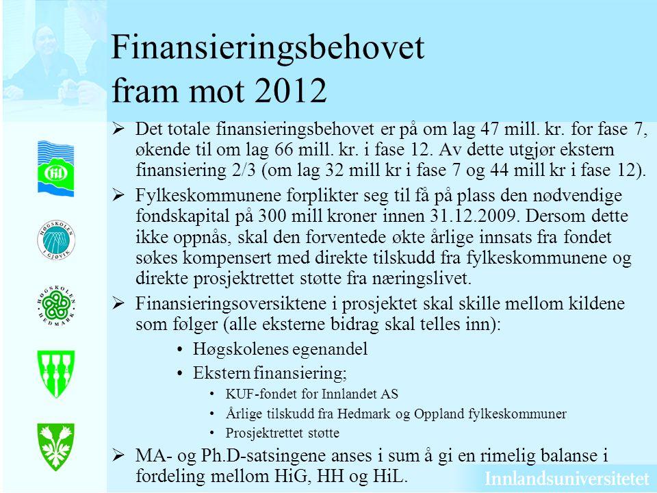 Finansieringsbehovet fram mot 2012 Det totale finansieringsbehovet er på om lag 47 mill.