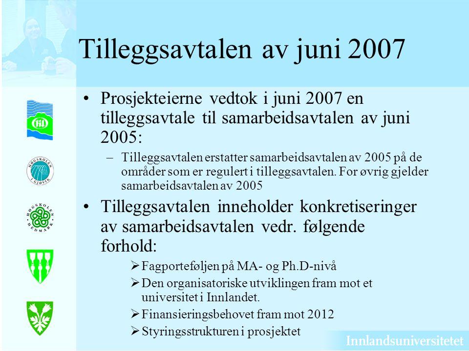Tilleggsavtalen av juni 2007 Prosjekteierne vedtok i juni 2007 en tilleggsavtale til samarbeidsavtalen av juni 2005: –Tilleggsavtalen erstatter samarbeidsavtalen av 2005 på de områder som er regulert i tilleggsavtalen.