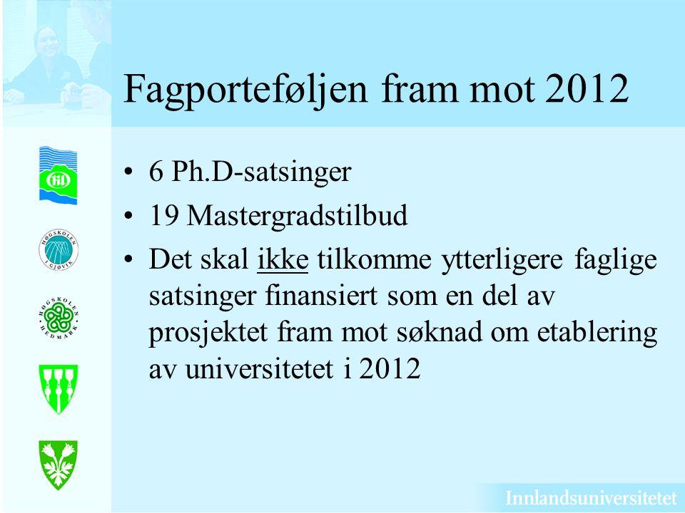 Fagporteføljen fram mot 2012 6 Ph.D-satsinger 19 Mastergradstilbud Det skal ikke tilkomme ytterligere faglige satsinger finansiert som en del av prosjektet fram mot søknad om etablering av universitetet i 2012