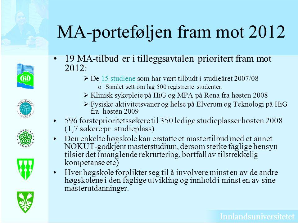 MA-porteføljen fram mot 2012 19 MA-tilbud er i tilleggsavtalen prioritert fram mot 2012: De 15 studiene som har vært tilbudt i studieåret 2007/0815 studiene oSamlet sett om lag 500 registrerte studenter.