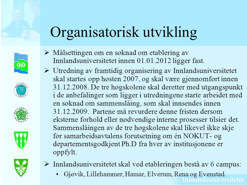 Organisatorisk utvikling Målsettingen om en søknad om etablering av Innlandsuniversitetet innen 01.01.2012 ligger fast.
