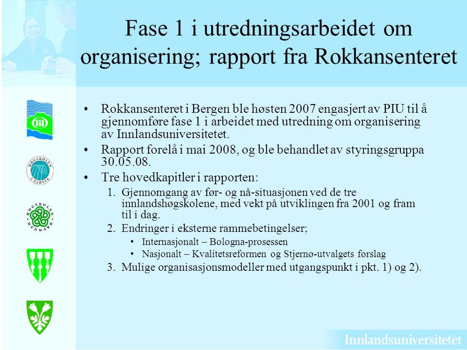 Fase 1 i utredningsarbeidet om organisering; rapport fra Rokkansenteret Rokkansenteret i Bergen ble høsten 2007 engasjert av PIU til å gjennomføre fase 1 i arbeidet med utredning om organisering av Innlandsuniversitetet.