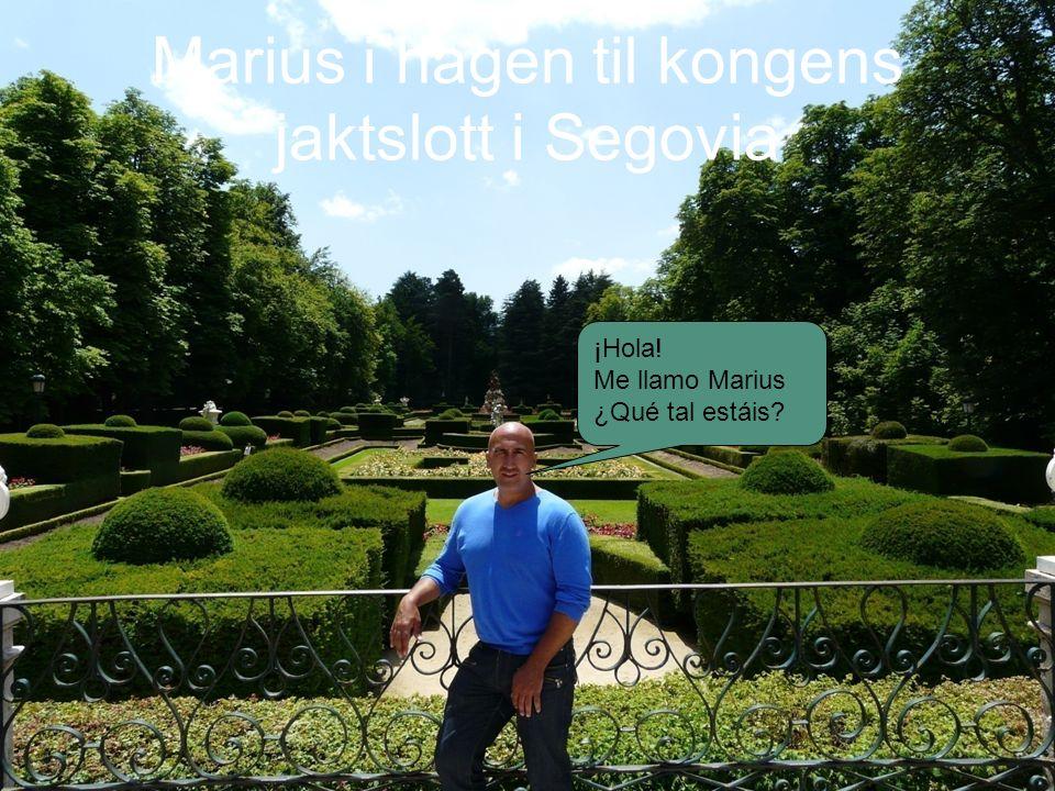 Marius i hagen til kongens jaktslott i Segovia ¡Hola! Me llamo Marius ¿Qué tal estáis?