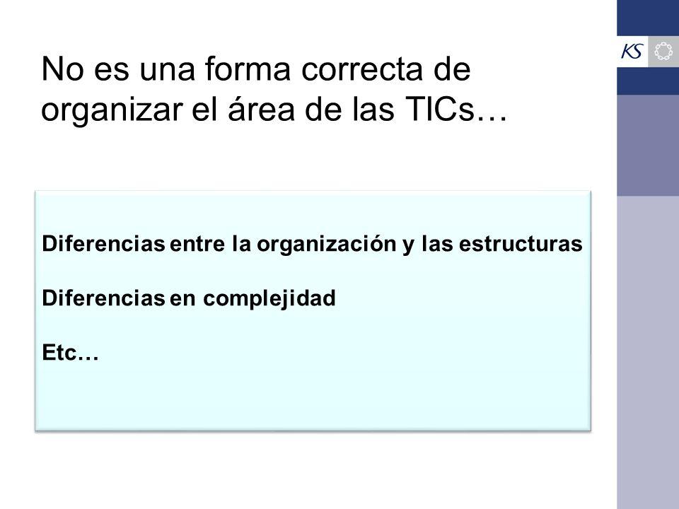 No es una forma correcta de organizar el área de las TICs… Diferencias entre la organización y las estructuras Diferencias en complejidad Etc… Diferencias entre la organización y las estructuras Diferencias en complejidad Etc…
