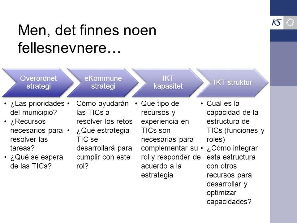 Men, det finnes noen fellesnevnere… Overordnet strategi eKommune strategi IKT kapasitet IKT struktur ¿Las prioridades del municipio.