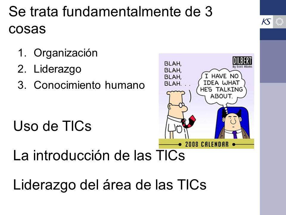 Uso de TICs 1.Organización 2.Liderazgo 3.Conocimiento humano Se trata fundamentalmente de 3 cosas La introducción de las TICs Liderazgo del área de las TICs
