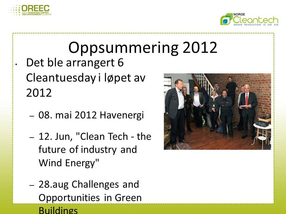 Oppsummering 2012 Det ble arrangert 6 Cleantuesday i løpet av 2012 – 08.