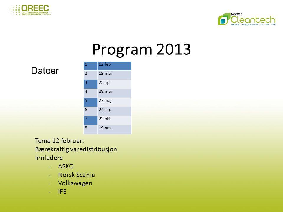 Program 2013 112.feb 219.mar 323.apr 428.mai 527.aug 624.sep 722.okt 819.nov Datoer Tema 12 februar: Bærekraftig varedistribusjon Innledere ASKO Norsk Scania Volkswagen IFE