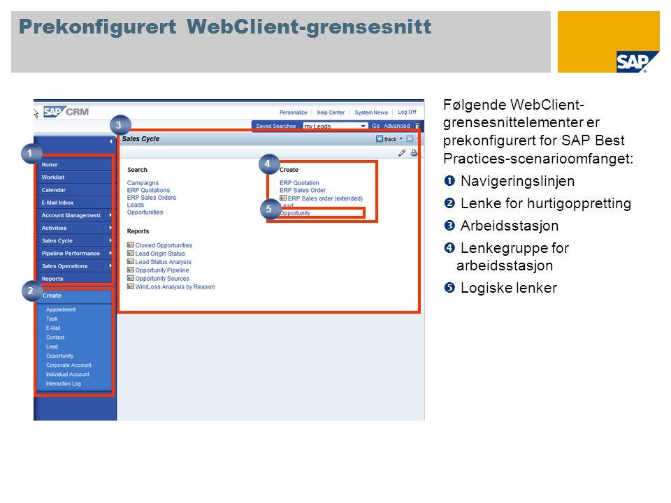 Prekonfigurert WebClient-grensesnitt Følgende WebClient- grensesnittelementer er prekonfigurert for SAP Best Practices-scenarioomfanget: Navigeringslinjen Lenke for hurtigoppretting Arbeidsstasjon Lenkegruppe for arbeidsstasjon Logiske lenker 1 2 4 3 5