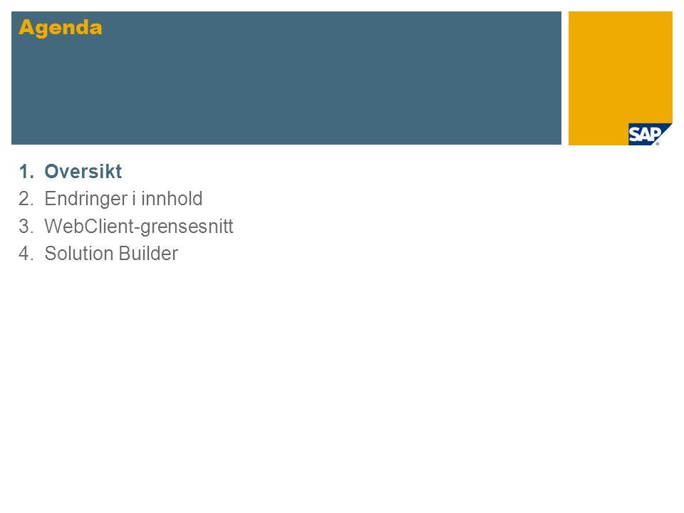 1.Oversikt 2.Endringer i innhold 3.WebClient-grensesnitt 4.Solution Builder Agenda