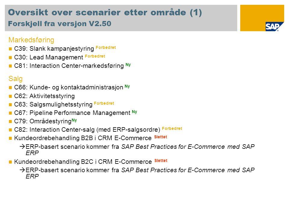 Oversikt over scenarier etter område (1) Forskjell fra versjon V2.50 Markedsføring C39: Slank kampanjestyring Forbedret C30: Lead Management Forbedret C81: Interaction Center-markedsføring Ny Salg C66: Kunde- og kontaktadministrasjon Ny C62: Aktivitetsstyring C63: Salgsmulighetsstyring Forbedret C67: Pipeline Performance Management Ny C79: Områdestyring Ny C82: Interaction Center-salg (med ERP-salgsordre) Forbedret Kundeordrebehandling B2B i CRM E-Commerce Slettet ERP-basert scenario kommer fra SAP Best Practices for E-Commerce med SAP ERP Kundeordrebehandling B2C i CRM E-Commerce Slettet ERP-basert scenario kommer fra SAP Best Practices for E-Commerce med SAP ERP