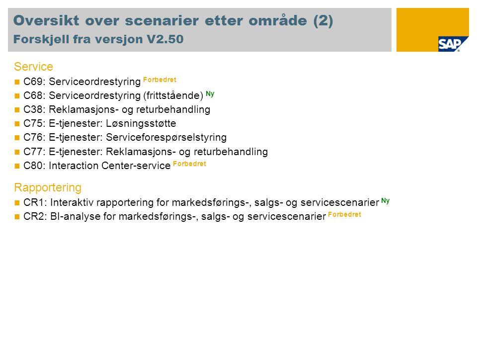 Oversikt over scenarier etter område (2) Forskjell fra versjon V2.50 Service C69: Serviceordrestyring Forbedret C68: Serviceordrestyring (frittstående) Ny C38: Reklamasjons- og returbehandling C75: E-tjenester: Løsningsstøtte C76: E-tjenester: Serviceforespørselstyring C77: E-tjenester: Reklamasjons- og returbehandling C80: Interaction Center-service Forbedret Rapportering CR1: Interaktiv rapportering for markedsførings-, salgs- og servicescenarier Ny CR2: BI-analyse for markedsførings-, salgs- og servicescenarier Forbedret