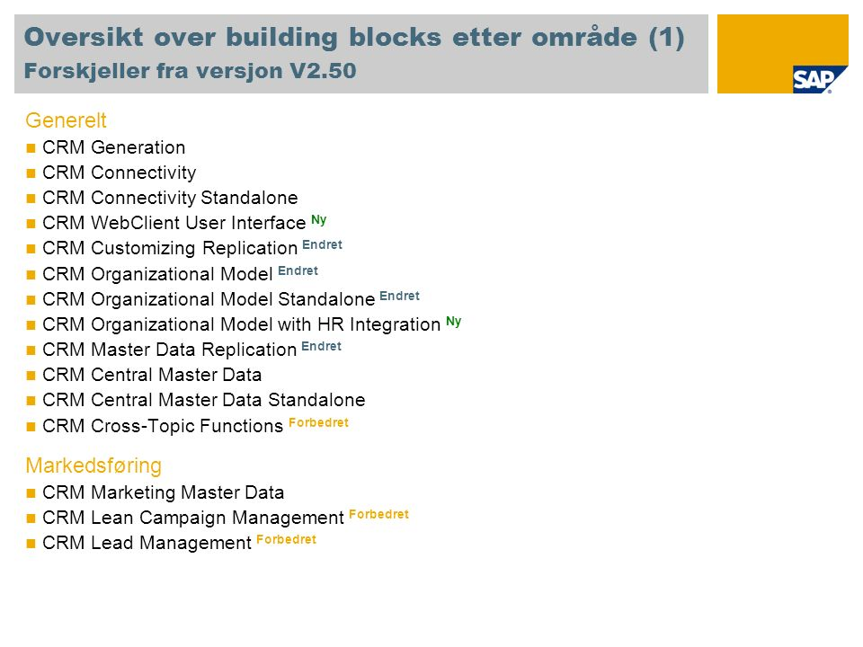 Oversikt over building blocks etter område (2) Forskjeller fra versjon V2.50 Salg CRM Basic Sales CRM Activity Management CRM Account and Contact Management Ny CRM Opportunity Management Forbedret CRM Territory Management Ny Service CRM Service Master Data CRM Service Forbedret CRM Service Standalone Ny CRM Complaints Interaction Center CRM Interaction Center Forbedret CRM Teleservice Endret Web Channel CRM E-Service