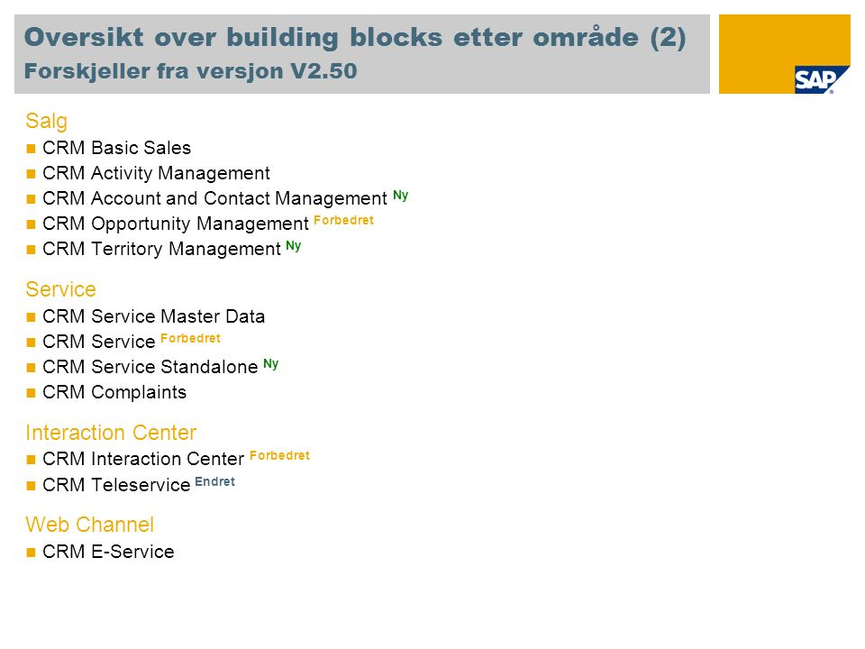 Oversikt over building blocks etter område (2) Forskjeller fra versjon V2.50 Salg CRM Basic Sales CRM Activity Management CRM Account and Contact Mana