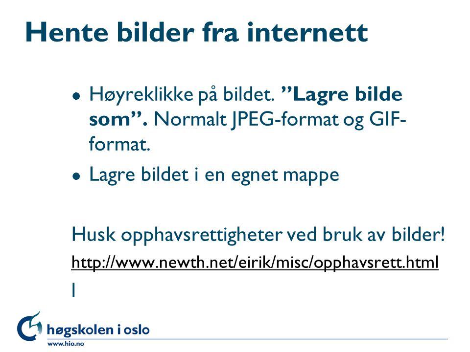 Hente bilder fra internett l Høyreklikke på bildet.