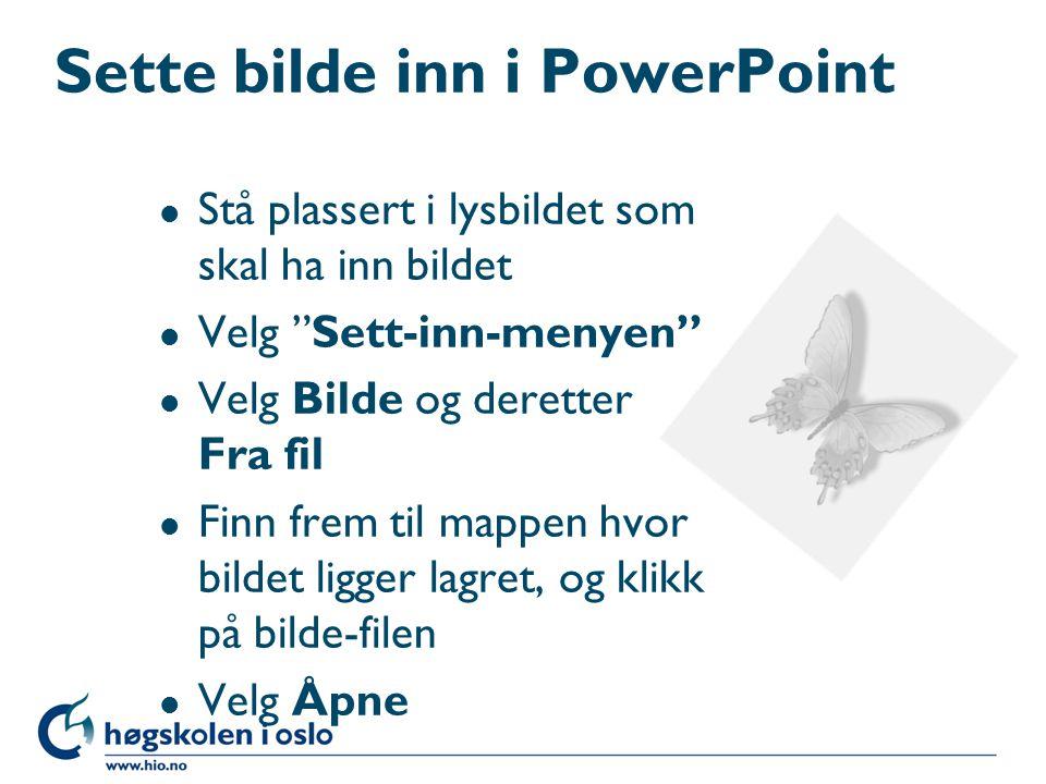 Sette bilde inn i PowerPoint l Stå plassert i lysbildet som skal ha inn bildet l Velg Sett-inn-menyen l Velg Bilde og deretter Fra fil l Finn frem til mappen hvor bildet ligger lagret, og klikk på bilde-filen l Velg Åpne