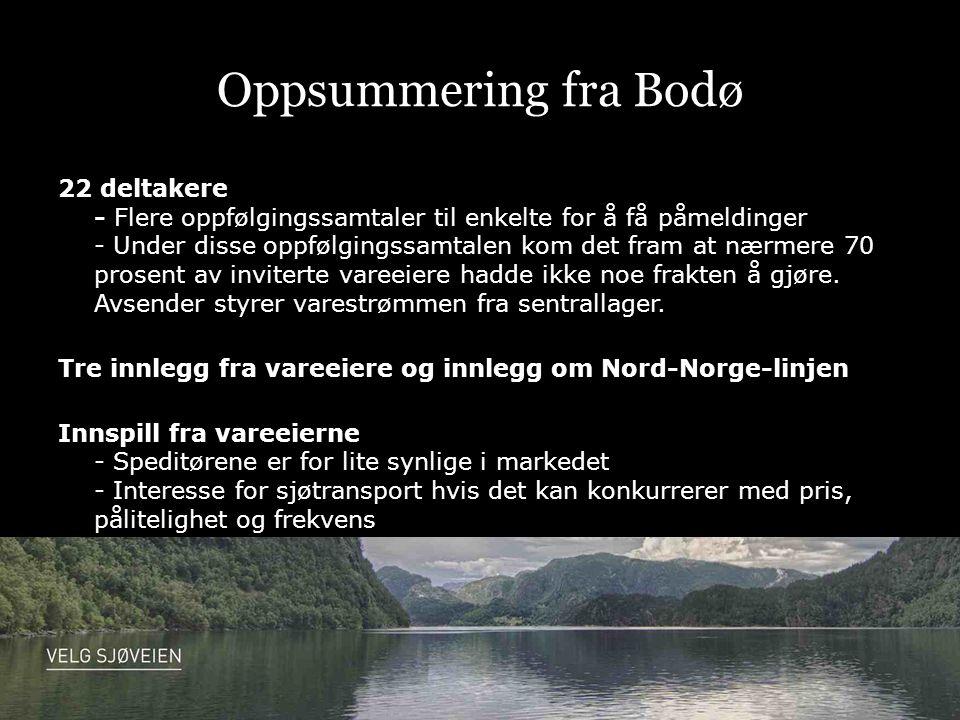 Oppsummering fra Narvik 20 deltakere – transportkjøpere som kom Uvant og krevende å sende ut invitasjoner Mye arbeid med å ferdigstille containeren Mediedekning i TV og lokalavisa Tilbakemeldingene fra transportkjøperne var så krevende at de kan bli vanskelig å innfri
