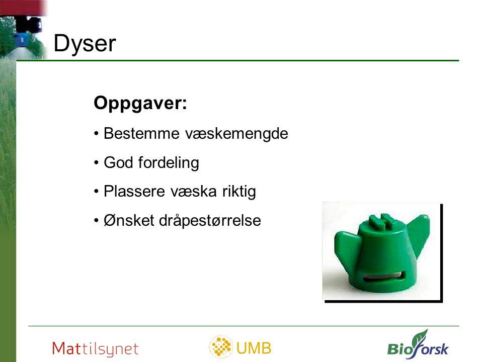 UMB Flatdyser – ulike typer Vanlige flatdyser Lavdriftsdyser Luftinjektordyser Kantdyser (off senter) Even spray dyser