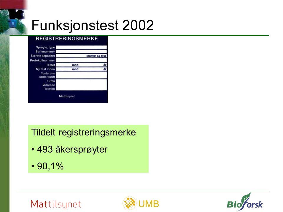 UMB Varig mangel IKKE tildelt registreringsmerke 48 åkersprøyter 9 % Funksjonstest 2002