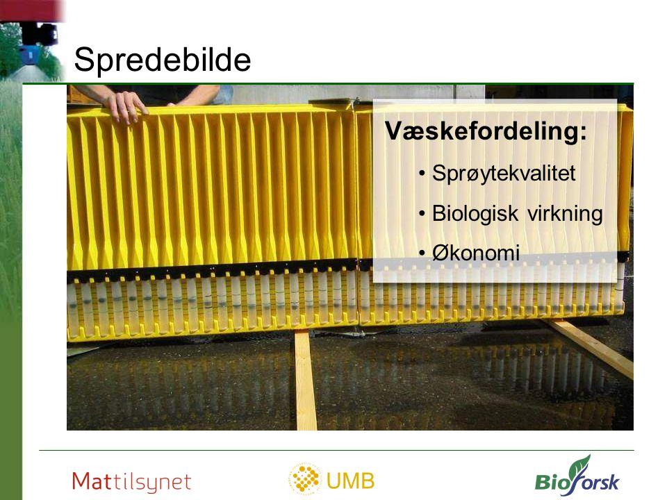 UMB Spredebilde Væskefordeling: Sprøytekvalitet Biologisk virkning Økonomi