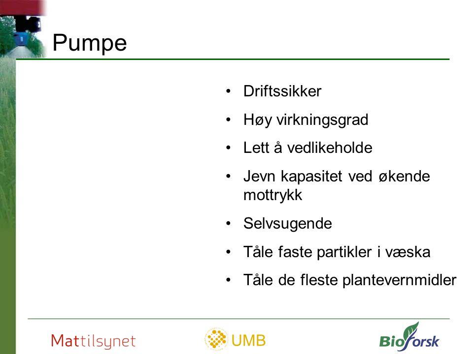 UMB Pulserende pumper Stempelpumpe (øverst til høyre) Membranpumper (1 – 6 kamre)
