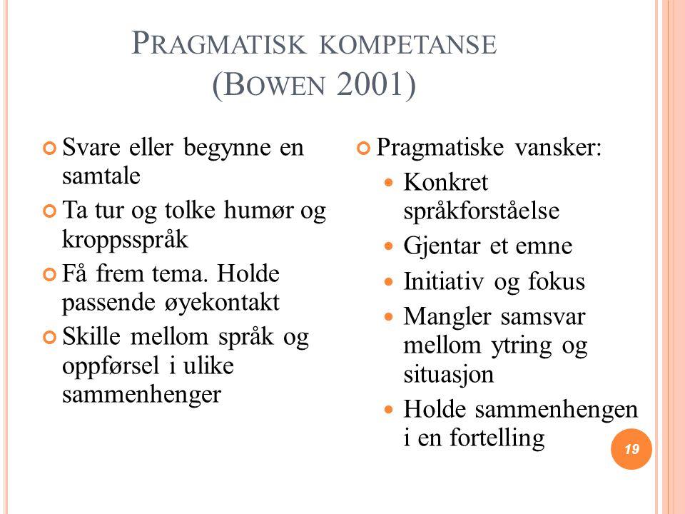 P RAGMATISK KOMPETANSE (B OWEN 2001) 19 Svare eller begynne en samtale Ta tur og tolke humør og kroppsspråk Få frem tema. Holde passende øyekontakt Sk