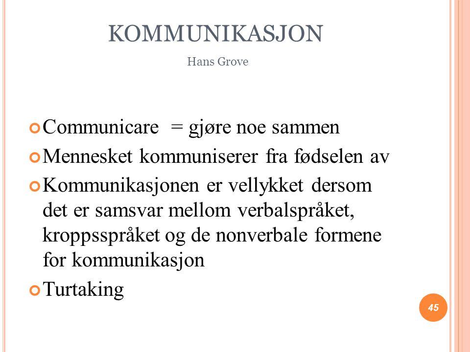 KOMMUNIKASJON Hans Grove Communicare = gjøre noe sammen Mennesket kommuniserer fra fødselen av Kommunikasjonen er vellykket dersom det er samsvar mell