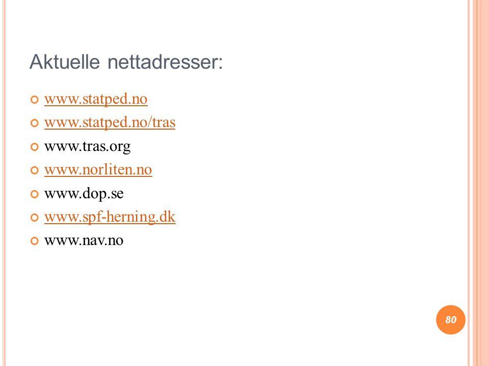 Aktuelle nettadresser: www.statped.no www.statped.no/tras www.tras.org www.norliten.no www.dop.se www.spf-herning.dk www.nav.no 80