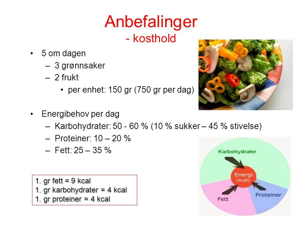 Anbefalinger - kosthold 5 om dagen –3 grønnsaker –2 frukt per enhet: 150 gr (750 gr per dag) Energibehov per dag –Karbohydrater: 50 - 60 % (10 % sukke