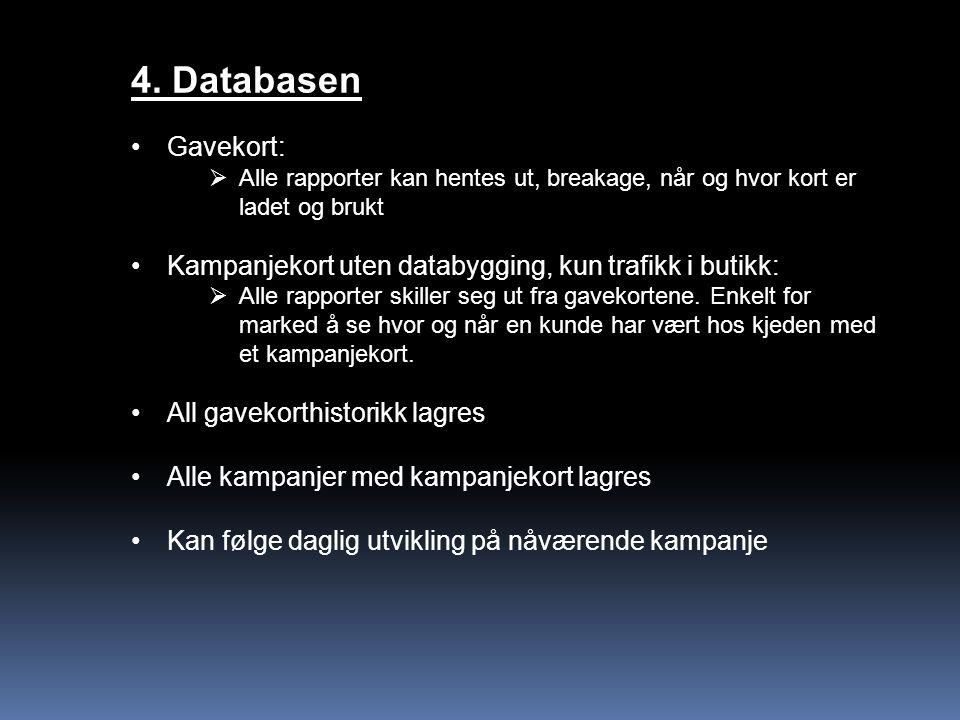 4. Databasen Gavekort:  Alle rapporter kan hentes ut, breakage, når og hvor kort er ladet og brukt Kampanjekort uten databygging, kun trafikk i butik