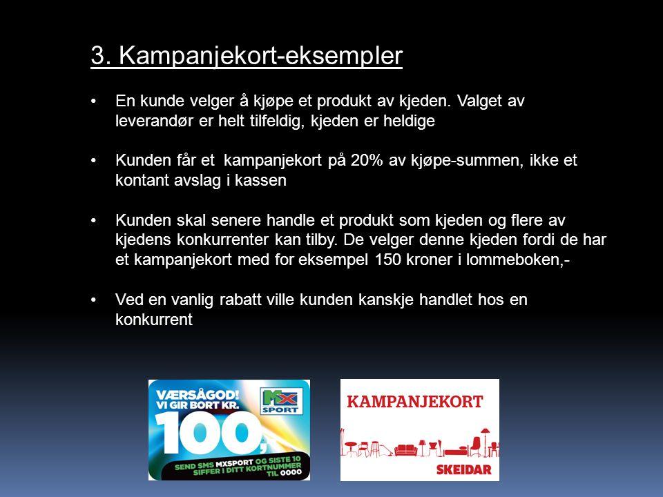 3. Kampanjekort-eksempler En kunde velger å kjøpe et produkt av kjeden. Valget av leverandør er helt tilfeldig, kjeden er heldige Kunden får et kampan