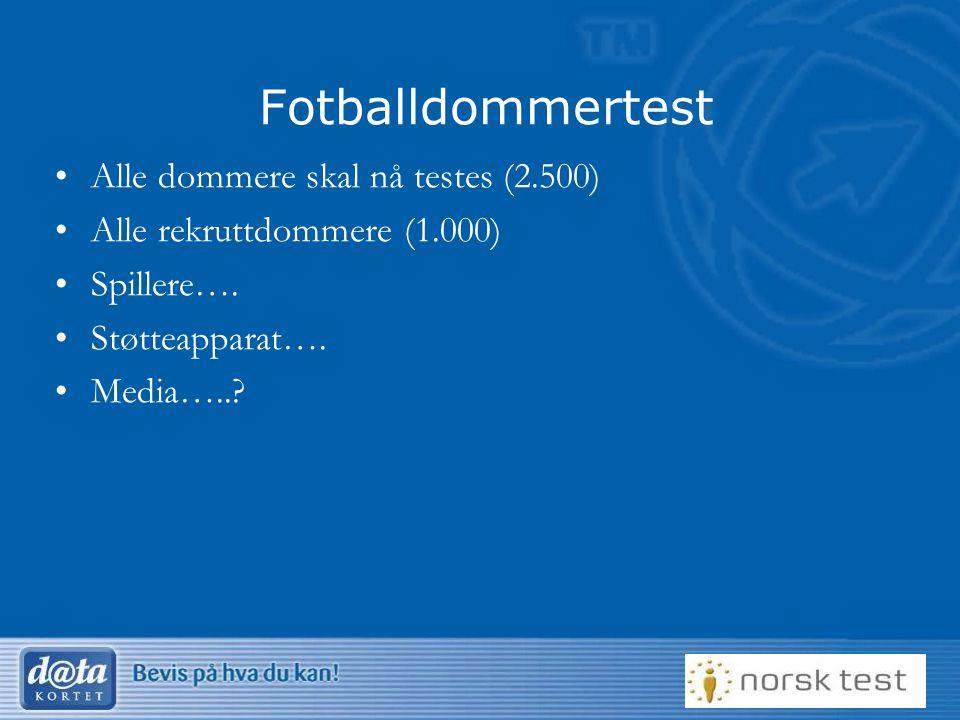 12 Fotballdommertest Alle dommere skal nå testes (2.500) Alle rekruttdommere (1.000) Spillere…. Støtteapparat…. Media…..?