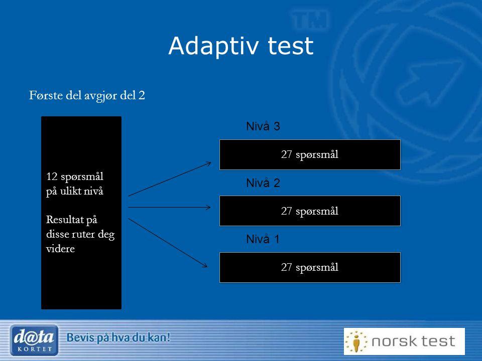 Første del avgjør del 2 Adaptiv test 12 spørsmål på ulikt nivå Resultat på disse ruter deg videre 27 spørsmål Nivå 3 27 spørsmål Nivå 2 27 spørsmål Ni
