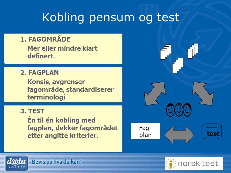 26 Kobling pensum og test 1. FAGOMRÅDE Mer eller mindre klart definert. 2. FAGPLAN Konsis, avgrenser fagområde, standardiserer terminologi 3. TEST Én