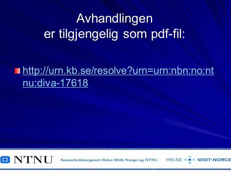 Avhandlingen er tilgjengelig som pdf-fil: http://urn.kb.se/resolve?urn=urn:nbn:no:nt nu:diva-17618