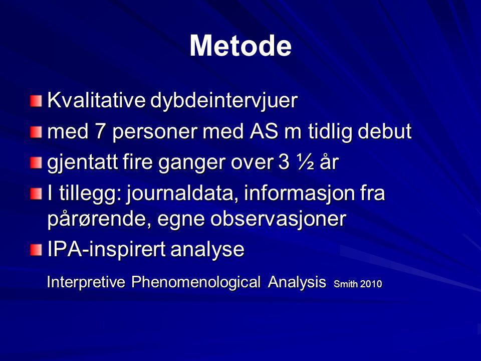 Metode Kvalitative dybdeintervjuer med 7 personer med AS m tidlig debut gjentatt fire ganger over 3 ½ år I tillegg: journaldata, informasjon fra pårør