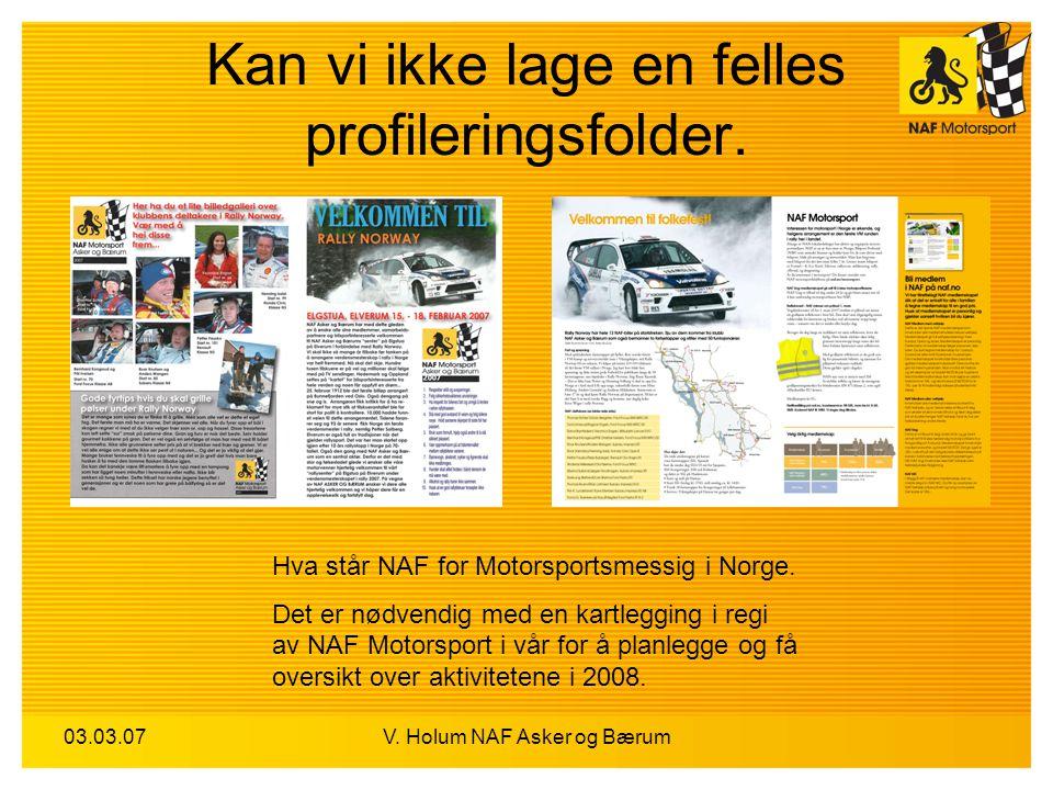 03.03.07V. Holum NAF Asker og Bærum Kan vi ikke lage en felles profileringsfolder. Hva står NAF for Motorsportsmessig i Norge. Det er nødvendig med en