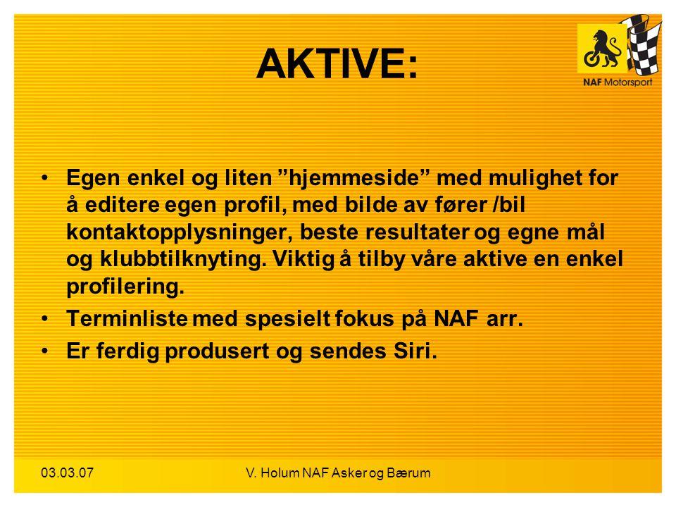 """03.03.07V. Holum NAF Asker og Bærum AKTIVE: Egen enkel og liten """"hjemmeside"""" med mulighet for å editere egen profil, med bilde av fører /bil kontaktop"""