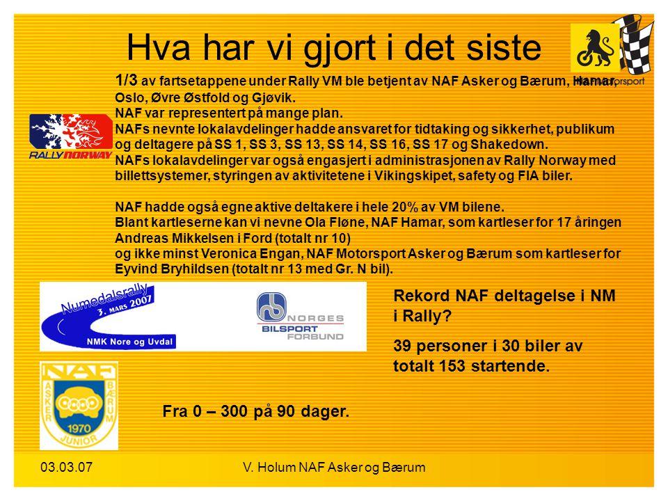 03.03.07V. Holum NAF Asker og Bærum Hva har vi gjort i det siste Fra 0 – 300 på 90 dager. Rekord NAF deltagelse i NM i Rally? 39 personer i 30 biler a
