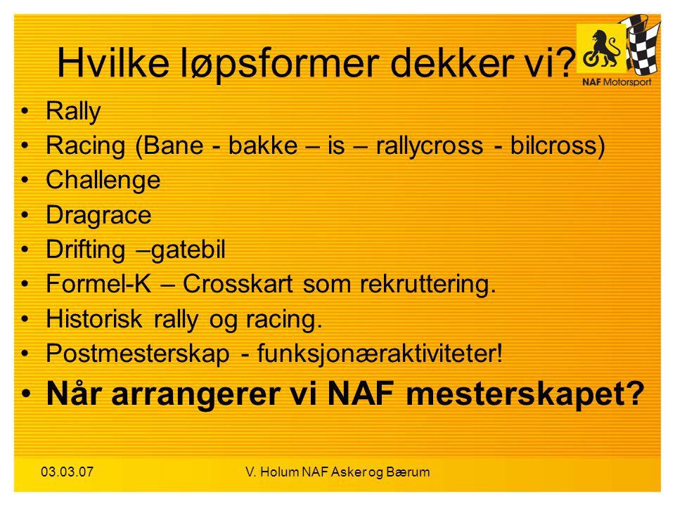 03.03.07V. Holum NAF Asker og Bærum Hvilke løpsformer dekker vi? Rally Racing (Bane - bakke – is – rallycross - bilcross) Challenge Dragrace Drifting