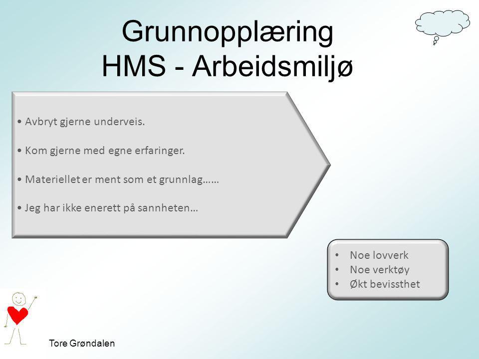 Tore Grøndalen Grunnopplæring HMS - Arbeidsmiljø Avbryt gjerne underveis. Kom gjerne med egne erfaringer. Materiellet er ment som et grunnlag…… Jeg ha