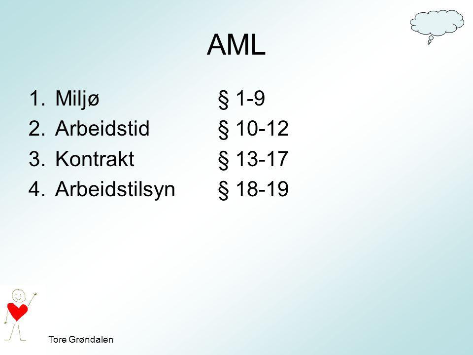Tore Grøndalen AML 1.Miljø § 1-9 2.Arbeidstid § 10-12 3.Kontrakt § 13-17 4.Arbeidstilsyn § 18-19
