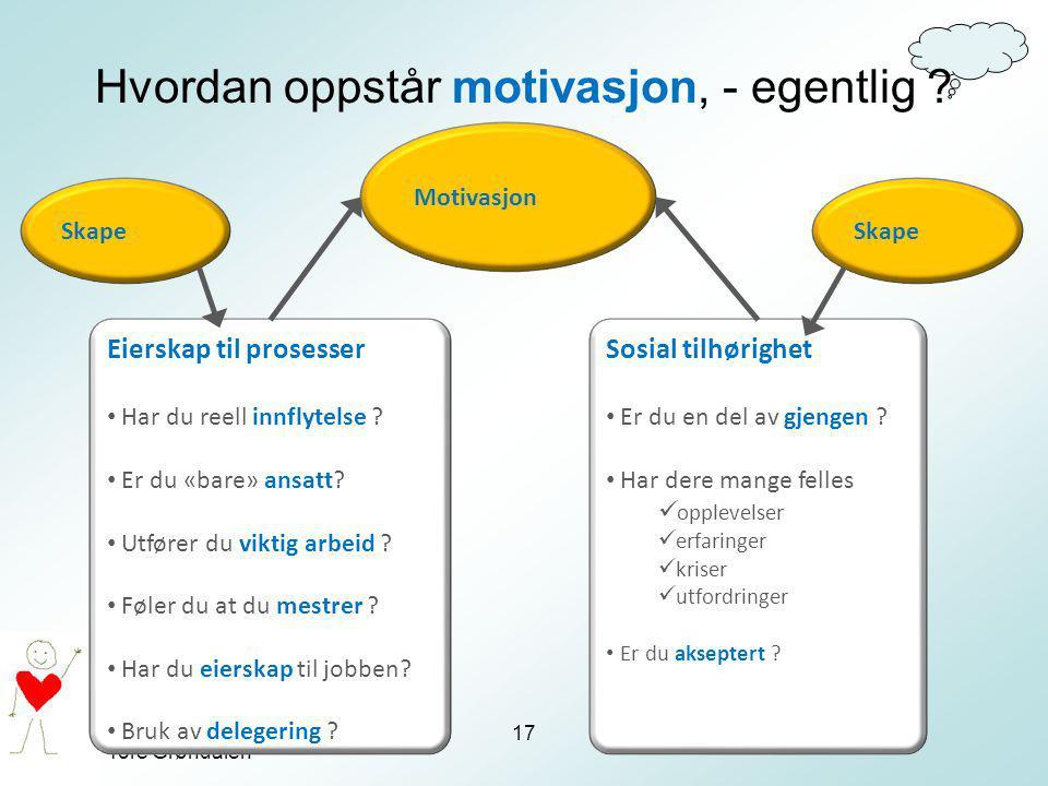 Tore Grøndalen Hvordan oppstår motivasjon, - egentlig ? 17 Motivasjon Sosial tilhørighet Er du en del av gjengen ? Har dere mange felles opplevelser e